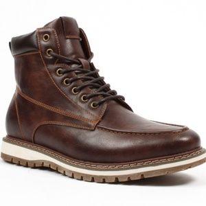 f579b9eac551 Harrison Myles Shoes - Moc Toe Lace Up Combat Boots Shoes Dk.. Brown